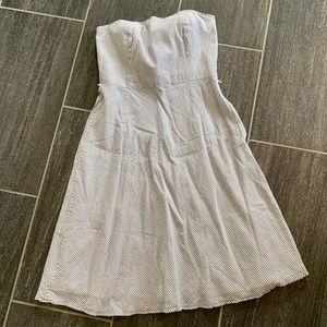 Ann Taylor Loft grey & white seersucker dress